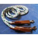 White with green fleck looped rope reins with light tan leather water straps