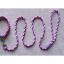 Braided dog lead - small dog - neon pink and purple
